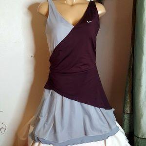 Nike Fri Fit burgundy & grayruffled Tennis Dress L